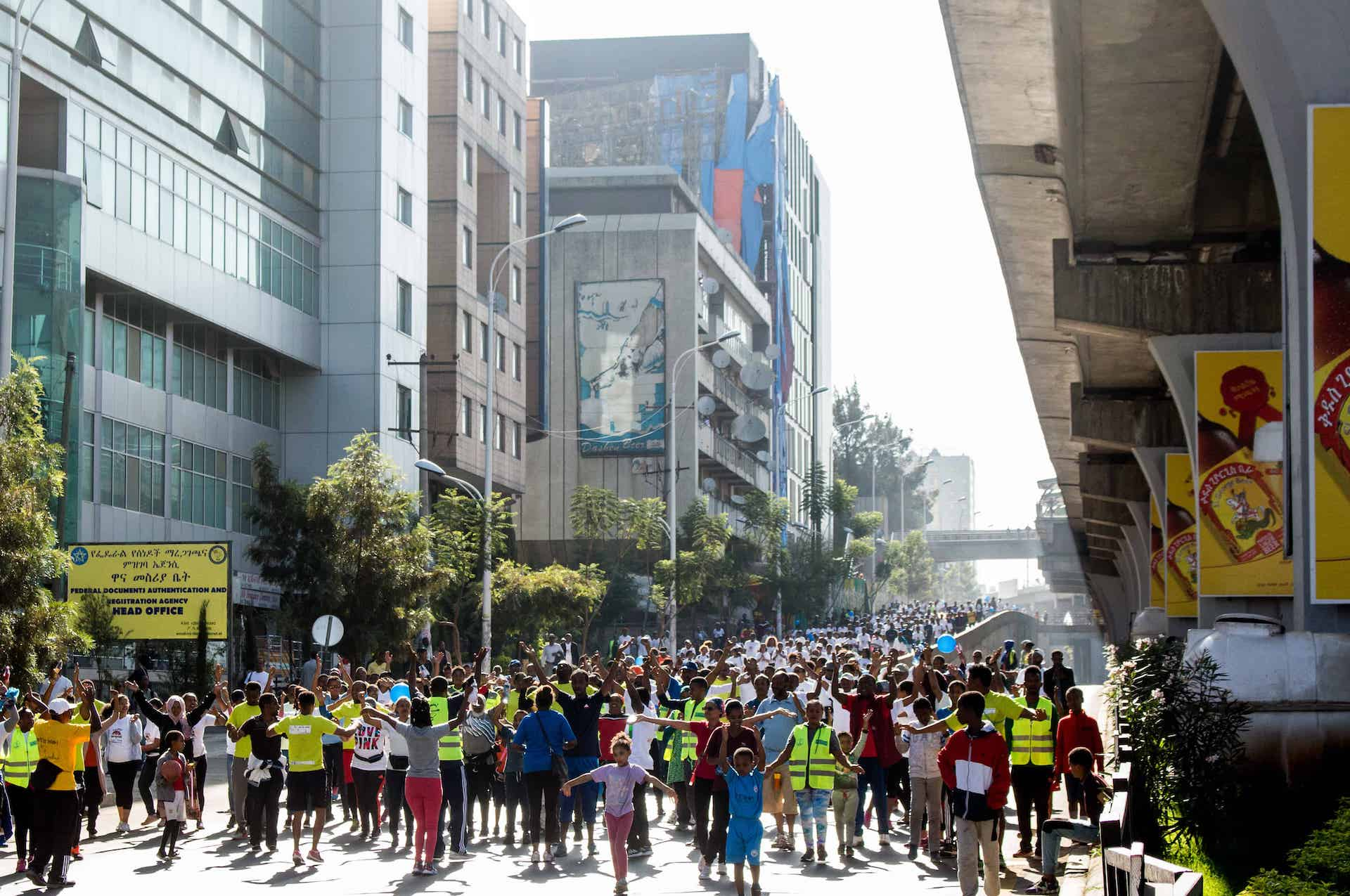 Menged Le Sew. Photo from https://www.c40knowledgehub.org/s/article/Cities100-Car-free-days-are-driving-Addis-Ababa-toward-a-cleaner-people-centric-future?language=en_US